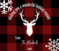 Holiday Beer Can Label - Rustic Buffalo Plaid