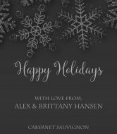 Holiday Champagne Label - Sparkling Silver Snowflakes