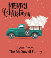Holiday Wine Label - Retro Christmas Green Truck