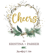 Wedding Wine Label - Twig Wreath Cheers