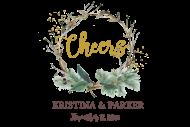 Mini Champagne Label - Twig Wreath Cheers