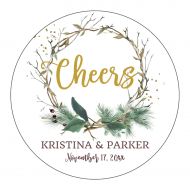 Wedding Sticker - Twig Wreath Cheers