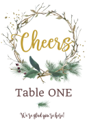 Wedding Table Number Label - Twig Wreath Cheers