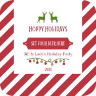 Holiday Drink Coaster - Striped Hoppy Holidays