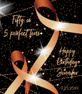 Birthday Champagne Label - Ribbon and Lights
