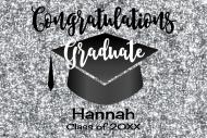 Graduations Mini Champagne Label - Graduation Silver Glitter