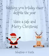 Holiday Wine Label - Social Distancing Santa and Reindeer