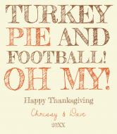Holiday Wine Label - Turkey and Pie