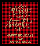 Holiday Wine Label - Merry and Bright Buffalo Plaid