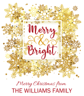 Holiday Wine Label - Merry & Bright Snowflake Frame