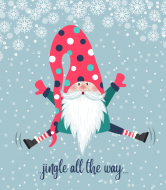 Holiday Wine Label - Cute Jumping Gnome