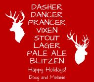 Holiday Beer Label - Santa's Reindeer Beer