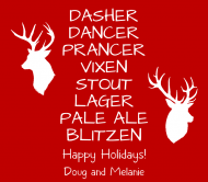 Holiday Beer Can Label - Santa's Reindeer Beer