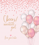 Birthday Wine Label - Pink Confetti and Balloons