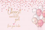 Birthday Mini Champagne Label - Pink Confetti and Balloons