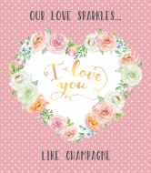 Holiday Champagne Label - Rose Heart Frame