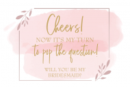 Wedding Mini Champagne Label - Pink Watercolor Brush Stroke Frame