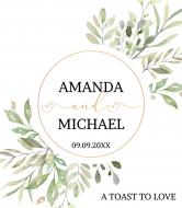 Wedding Wine Label - Wedding Watercolor Leaves