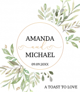 Wedding Champagne Label - Wedding Watercolor Leaves