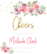 Birthday Champagne Label - Floral Birthday Girl Cheers