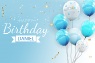 Birthday Sticker - Blue Balloons