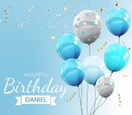 Birthday Beer Label - Blue Balloons
