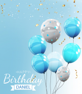 Birthday Wine Label - Blue Balloons