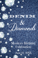 Birthday Mini Wine Label - Denim & Diamonds
