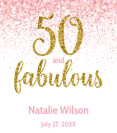 Birthday Champagne Label - Pink Fifty And Fabulous