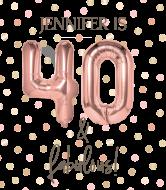 Birthday Wine Label - Rose Gold 40th Birthday
