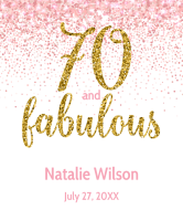 Birthday Wine Label - Pink Seventy And Fabulous