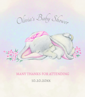 Baby Wine Label - Elephant Baby Girl