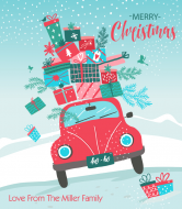Holiday Wine Label - Christmas Car