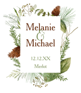 Wedding Wine Label - Winter Greenery Wedding