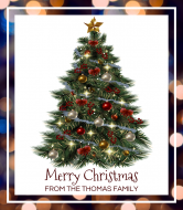 Holiday Liquor Label - Sparkling Decorated Christmas Tree