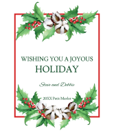 Holiday Wine Label - Watercolor Christmas Holly & Berries