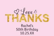 Birthday Mini Champagne Label - Love & Thanks