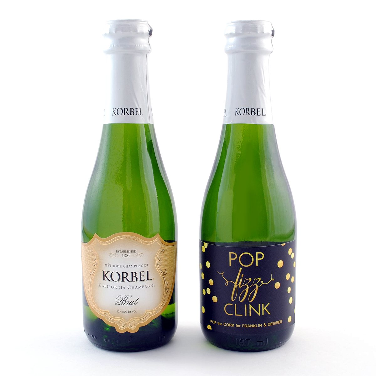 Pop Fizz Clink Mini Champagne Labels For Korbel Bottles