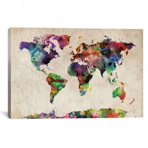 World Map Urba Watercolor II by Michael Tompsett - 12''x8''