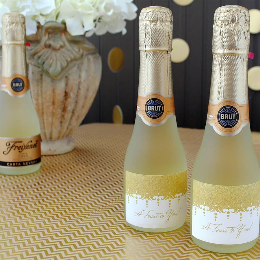 Gold Glitter Mini Wine Label By BottleYourBrand - Mini champagne bottle labels template