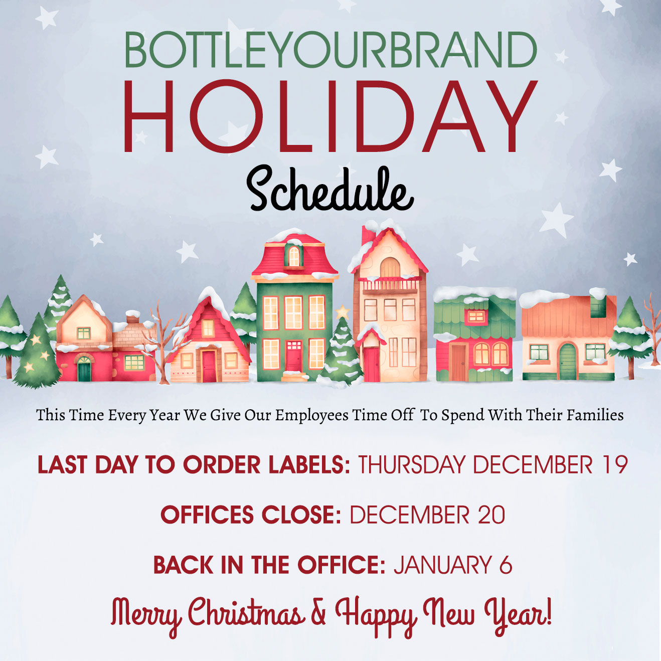 happy holidays 2019 from bottle your brand