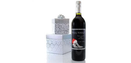 Christmas Silver Heels Wine Label