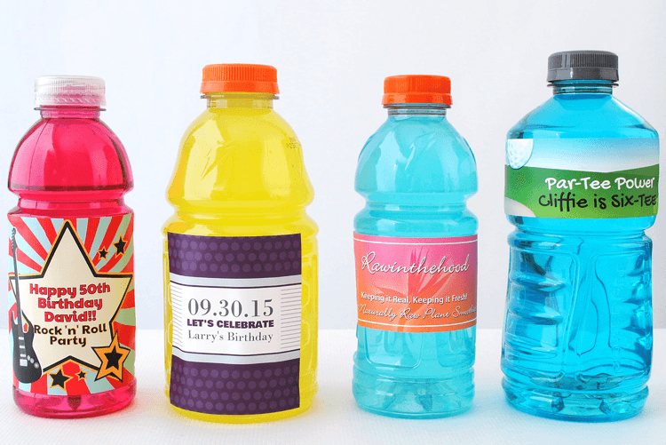 Sports drinks labels