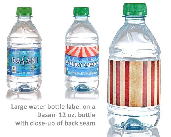 twelve ounce dasani water bottle labels