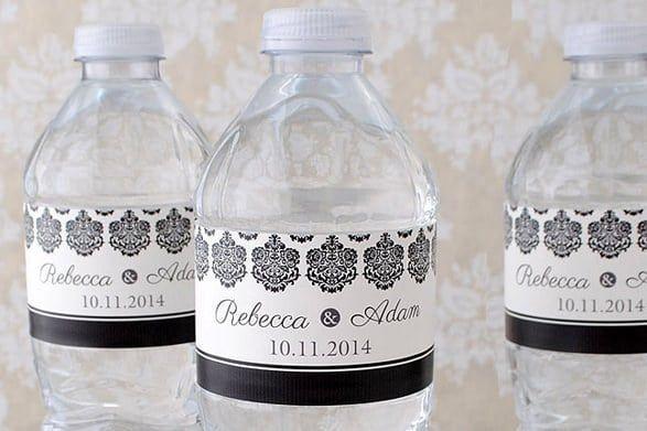 three wedding water bottle labels
